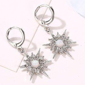 3/$20 New Silver Starburst Opal Rhinestone Earring